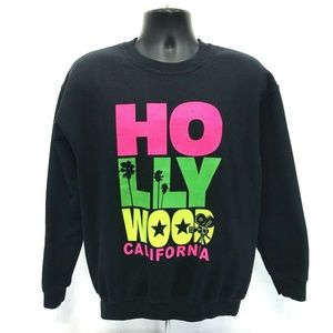 HOLLYWOOD Neon VINTAGE 90's Sweatshirt Mens Size M